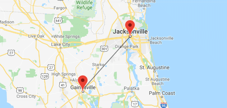 how far is jacksonville from gainesville